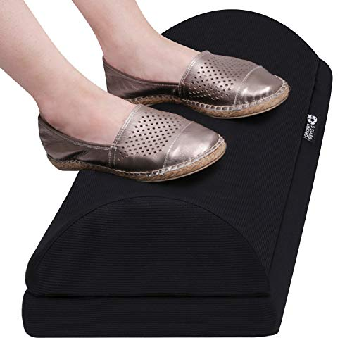 Foot Rest Under Desk Cushion - Adjustable Height 6' - Ergonomic Half-Cylinder Pad for Extra Leg Support - Breathable Mesh Cover - Non-Slip Bottom - Foot Stool for Home and Office