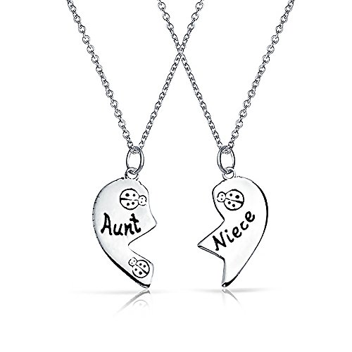 2 PCS Best Friend Aunt Niece Split Broken Puzzle Heart Break Apart Pendant Necklace For Women For Teen Sterling Silver