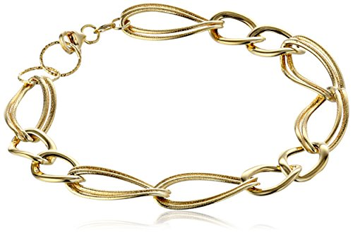 41mtd63ij2L Italian-crafted bracelet featuring large links of textured and smooth 14k gold Lobster-claw clasp. Made in Italy