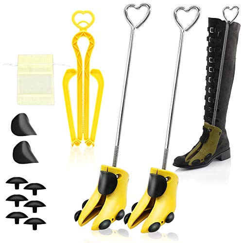 Shoe Stretcher Women, APREUTY Pair of Professional Shoe Stretcher Men Adjustable Shoe Trees Stretching Hiking Working Boots Stretcher with Foldable Boot Shaper Stands and Carrying Bag (Yellow)