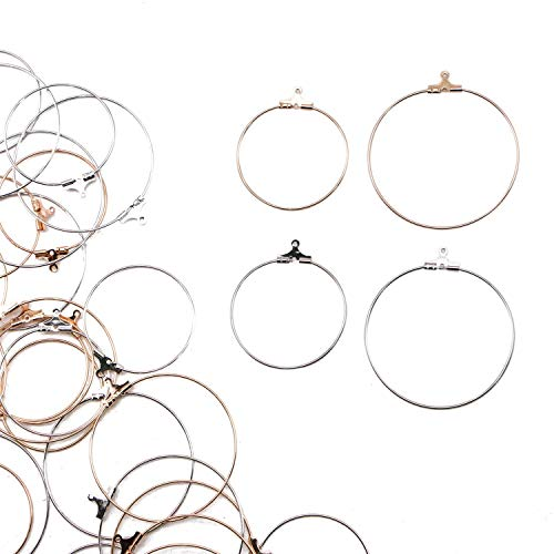 JETEHO 40pcs 4 Styles Circle Beading Hoop Earring Finding with 1mm Loop for Add Beads for Earring DIY Craft(Gold and Silver, 4cm and 3cm)