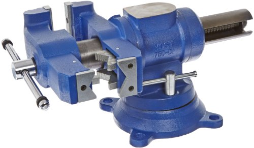Yost Vises 750-DI 5' Heavy-Duty Multi-Jaw Rotating Combination Pipe and Bench Vise with 360-Degree Swivel Base and Head