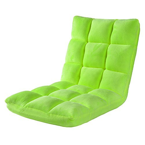 HTTH Adjustable Floor Gaming Sofa Chair 6-Position Cushioned Folding Lazy Recliner (Lawn Green)