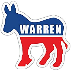 "Crazy Novelty Guy Bumper Sticker - Elizabeth Warren 2020 - Democrat Donkey - Political Campaign Decal - 4.5"" x 4.25"""