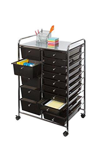 Seville Classics 15-Drawer Organizer Cart Black