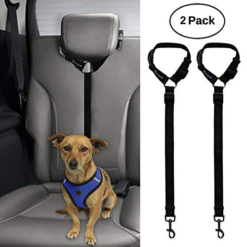 BWOGUE 2 Packs Dog Cat Safety Seat Belt Strap Car Headrest Restraint Adjustable Nylon Fabric Dog Restraints Vehicle Seatbelts Harness 1