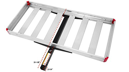 MaxxHaul 49.5 Inch x 22.5 Inch 70422 48' x 21' Hitch Mount Compact Aluminum Cargo Carrier-500-lb Load Capacity