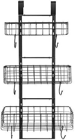 Detachable 3-Basket Over The Door Organizer, Heavy Duty Iron Hanging Shelf Door Back Storage Organizer Rack for Kitchen, Bathroom(Black).