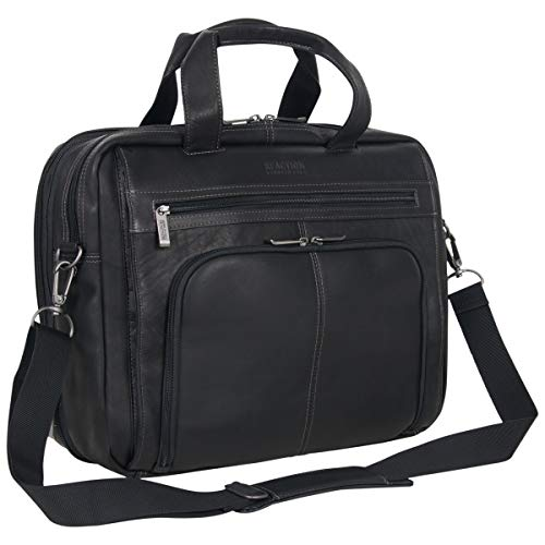 Kenneth Cole Reaction Colombian Leather Dual Compartment Expandable 15.6' Laptop Portfolio, Black