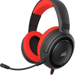 Corsair HS35 Stereo Gaming Headset (Custom 50 mm Neodymium Speakers, Detachable Unidirectional Microphone, Lightweight Build with Xbox One, PS4, Nintendo Switch & Mobile Compatibility) – Red