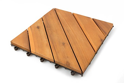 Thirteen Chefs Villa Acacia Wood Patio Pavers, Interlocking Deck Tiles for Outdoor and Floors, 12 x 12 Inch, Pack of 10, 4 Slat