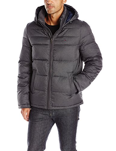 Tommy Hilfiger Men's Classic Hooded Puffer Jacket, Heather Charcoal, M
