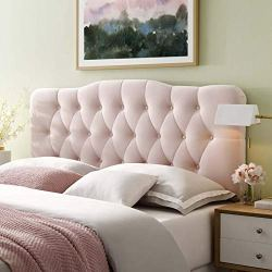 Modway Annabel Diamond Tufted Performance Velvet Queen Headboard in Pink
