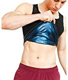 Sweat Shaper Men's Premium Workout Tank Top Slimming Polymer Sauna Vest for Weight Loss Tummy Fat Burning ,Black