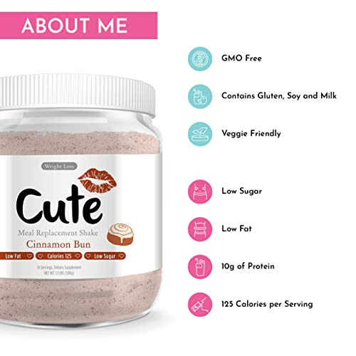 Cute Nutrition Cinnamon Bun Meal Replacement Shakes for Weight Loss Control & Energy for Women High Protein Low Calorie Low Sugar 17.63oz tub 2