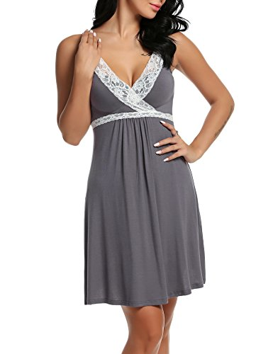 HOTOUCH Women Strap Lingerie Enchanting Satin Chemise Lace Nightgowns Gray M