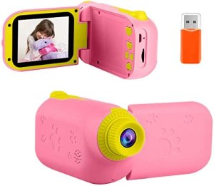 Kids Video Camera Camcorder Digital Children's Toys Cameras Recorder with 2.4″ 1080P FHD Screen for Age 3-10 Year Old Boys Girls Birthday with 32G Memory Card – Light Pink