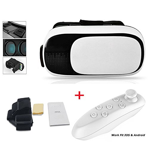 3D VR Glasses with/without Controller Portable 3D VR Headset Virtual Reality Headset Movies and Games for iPhone and Android 3.5-6' Smartphones Cell Phones