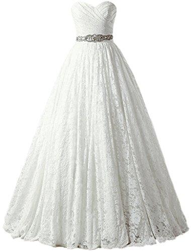 SOLOVEDRESS Women s Ball Gown Lace Princess Wedding Dress 2017 Sash Beaded  Bridal ... 2fc340949