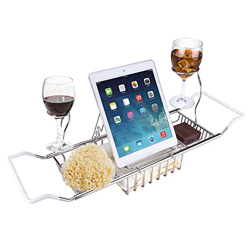 iPEGTOP 304 Stainless Steel Bathtub Caddy Tray - Over Bath Tub Racks Shower Organizer with Extending Sides, Removable Wine Glass Holders and Book Holder