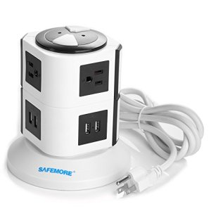 Safemore Smart 8-Outlet with 4-USB Output Power Strip (Green and White)