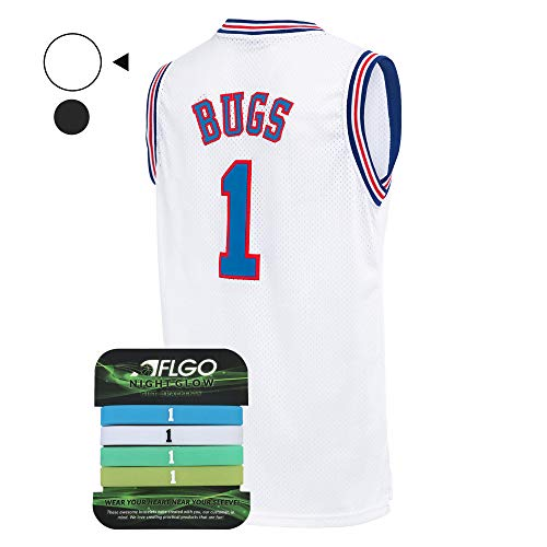 AFLGO Bug Space Jersey Basketball Jerseys Include Set Glow in The Dark Wristbands S-XXL (White, S/44)