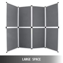 VEVOR-Trade-Show-Display-8-Panels-Display-Panel-94x71Inch-Aluminum-Alloy-Frames-Folding-Trade-Show-Display-with-Gray-Receptive-Fabric-8Panels-94x71Inch