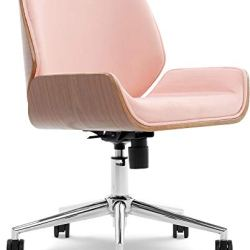 Elle Decor Ophelia Low-Back Task Modern Bentwood Home Office Armless Desk Chairs in Chrome Finish, French Pink