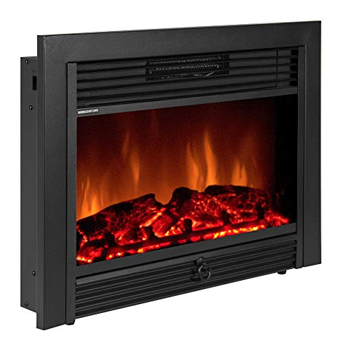 Best Choice Products VD-51075WH Embedded Fireplace Electric Insert Heater Glass View Log Flame Remote Home, 28.5'