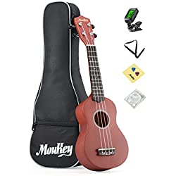 Moukey Soprano Ukulele Starter Kit 21 B-BR with Gig Bag Tuner Picks Strap,Basswood