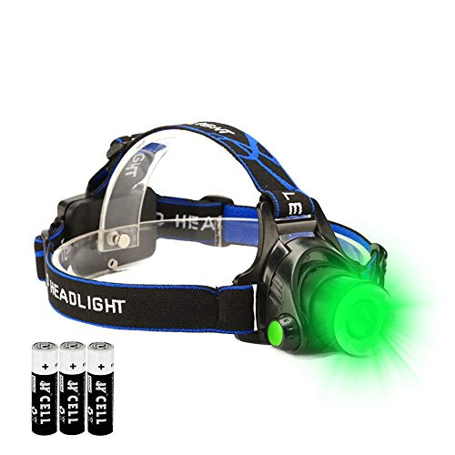 Green LED Headlamp Waterproof Head Torch Light with Zoomable and 3 Mode Best for Hunting, Outdoor Activities, Climbing, Astronomy etc. (1PACK)