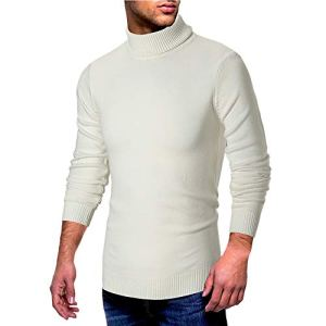 GREFER 2018 Fashion Men Autumn Knitted Sweater Long Sleeve Hight Neck Solid Pullover Tee Outwear