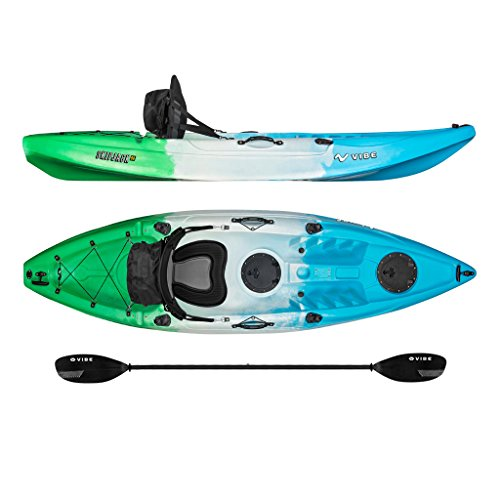 Vibe Kayaks Skipjack 90 9-foot Angler Sit On Top Fishing Kayak with Paddle and Deluxe Kayak Seat ( Sea Breeze)
