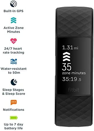 Fitbit Charge 4 Fitness and Activity Tracker with Built-in GPS, Heart Rate, Sleep & Swim Tracking, Black/Black, One Size (S &L Bands Included) 4