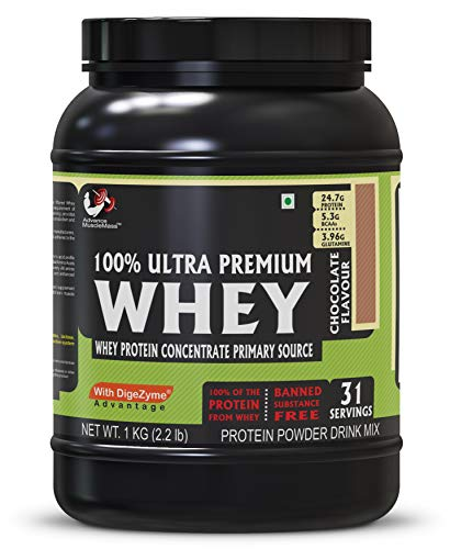 Advance MuscleMass Whey Protein Concentrate With Enzyme Blend| 24.7 g protein | Lab tested | Raw Whey from USA | Chocolate Flavour | 1 Kg (2.2 lb)