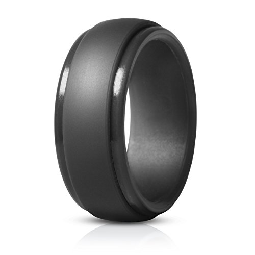 Saco Band Silicone Ring for Men Rubber Wedding Band - 1 Ring (Dark Grey, 12.5-13 (22.2mm))