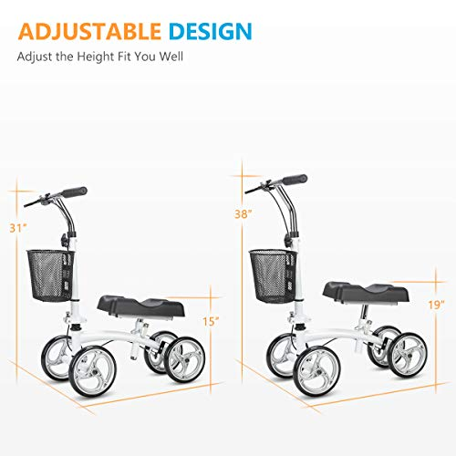 OasisSpace Small Size Lightweight Knee Scooter Walker,Compact and Portable Knee Walker Crutches Alternative for Foot Injuries Support up to 250LBS (White) deal 50% off 41nZs5QhpZL