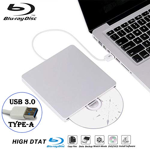 External Blu Ray DVD Drive Burner Player USB3.0 Portable Slim Automatic Slot-Loading CD/DVD-RAM/BD-ROM Superdrive +/- RW Rewriter/Reader with High Speed Data for Laptop Windows Mac OS (USB3.0 Type-A)