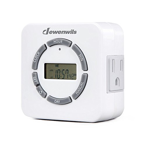 DEWENWILS Outlet Timer Indoor, Digital Plug in Lamp Timer, Programmable 2 Grounded Outlets Light Timer Switch for Plant Light, Electrical Outlets, ETL Listed