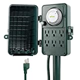 BN-LINK 24 Hour Mechanical Outdoor Multi Socket Timer, Waterproof Cover with 6 Outlet Garden Power Stake,6 ft Extension Cord,Outdoor Christmas Lights,Rain Tight 1875W/15A ETL Listed