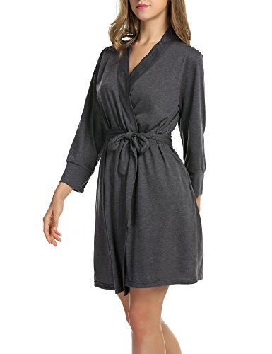 Hotouch Women's Robe Lightweight Pure Color Sleepwear Cotton Robe Gray XXL