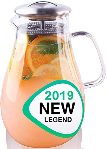 New 2019 - Glass Water Pitcher with Lid - Beverage Glass Carafe for Juice Lemon Water Iced Tea - Glass Pouring Pitcher Infuser with Handle and Strainer - 2l 64oz Large Capacity Spout Jug
