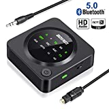 Bluetooth 5.0 Transmitter Receiver, BOIROS 2-in-1 Wireless 3.5mm Aux Bluetooth Audio Adapter - aptX Low Latency, Plug & Play Pair 2 at Once for Home TV PC Headphones Speakers & Car Stereo System
