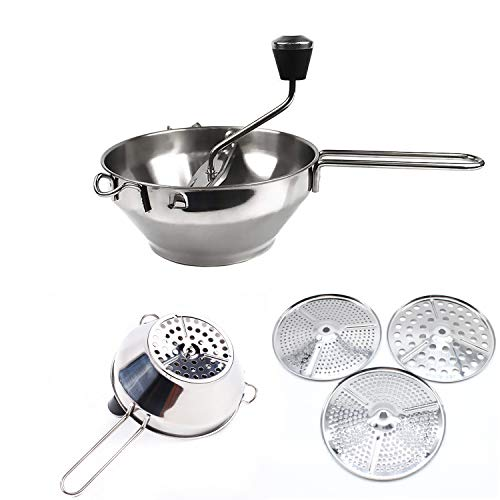 Nisorpa Commercial Stainless Steel Rotary Food Mill Portable Potato Ricer Strainer Kitchen Manual Food Grinder With 3 Milling Discs For Soups Sauces Purees