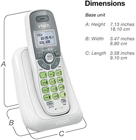 VTech CS6114 DECT 6.0 Cordless Phone with Caller ID/Call Waiting, White/Grey with 1 Handset 21