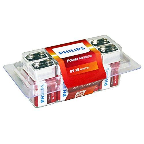 Philips Power Alkaline Battery 9V 8-Value Pack (6LR61P8P/27)