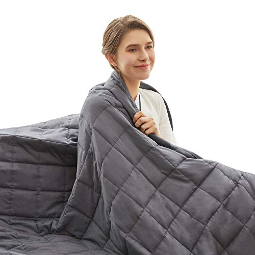 Weighted Idea Cooling Weighted Blanket 15 lbs for Kids and Adults | 48''x78'' | Cotton | Grey | Gift for Loved One
