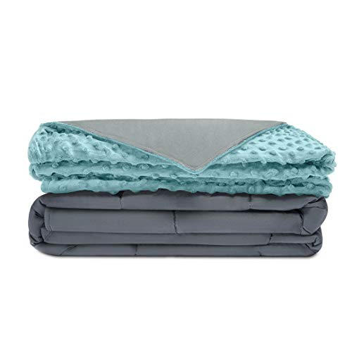 Quility Premium Adult Weighted Blanket & Removable Cover | 20 lbs | 60'x80' | for Individual Between 190-240 lbs | Full Size Bed | Premium Glass Beads | Cotton/Minky | Grey/Aqua Color