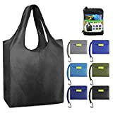 Reusable-Grocery-Bags-Foldable-Shopping-Bag Large 50LBS Reusable Tote Bags Groceries Bags with Pouch Bulk 6 Pack Ripstop Fabric Washable Durable Lightweight Black Grey Royal Navy Teal Moss
