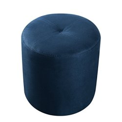 Kings Brand Furniture Josue Round Ottoman Stool, Blue Microfiber